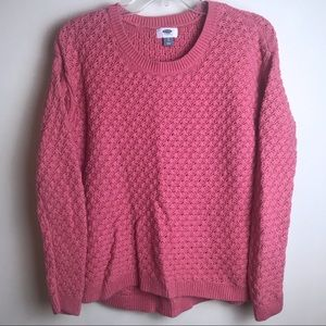 Old Navy Pink Chunky Knit Sweater Cotton Small